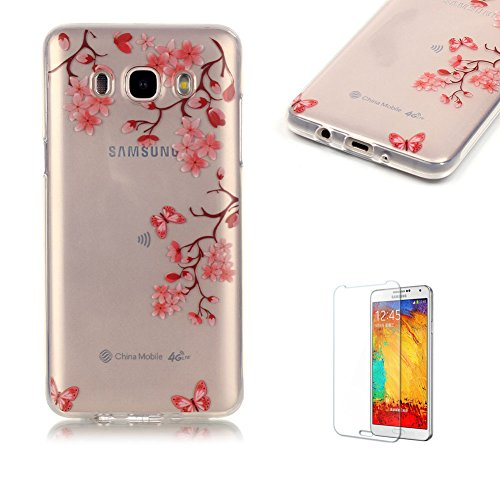 Samsung Galaxy J5 (2016 Model) J5108 Case Cover [with Free Screen Protector], Funyye See Through Transparent Soft Rubber Silicone Gel TPU Bumper Super Ultra Thin Colourful Pattern Designs Protective Case Cover Skin for Samsung Galaxy J5 (2016 Model) J5108 - Red Kapok Flowers