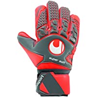 UHLSPORT - AERORED SOFT SF - Gant gardien football - Paume Latex Soft - Coupe Classique - gris foncé/rouge fluo/blanc