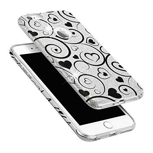 EGO ® Hülle Glitzer Schutzhülle für Huawei P9 Lite, Silber Katze Back Case Bumper Glänzend Transparente TPU Bling Weiche Glamour Handy Cover Silber Herz + Ladekabel