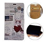 Sunrive Funda Para Oneplus 6, Funda Protección Carcasa Cuero Resistente Cierre Magnético,carcasa en folio, soporte plegable (Patrón gato) + 1 x Lápiz óptico