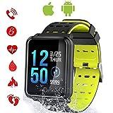 C-Xka Rastreador de ejercicios, Monitor de actividad de la pantalla a color con monitoreo de ritmo cardíaco en tiempo real, podómetro IP68 impermeable para natación, reloj para hombres, mujeres y niño