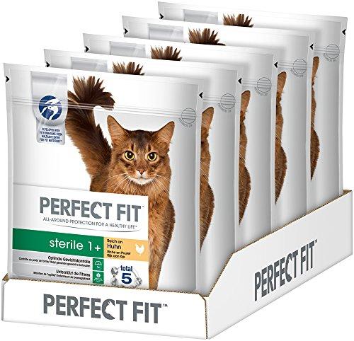 Perfect Fit Katzen-/Trockenfutter Adult 1+ für erwachsene Katzen ProSterile Reich an Huhn, 5 Beutel (5 x 750 g)