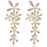 Rolicia 5 Leaf Flower Gold Plate White Czech Crystal 6.6*2.5 cm Earrings Drops Studs Swarovski Design Gift Box