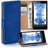 moex Sony Xperia Z | Hülle Blau mit Karten-Fach 360° Book Klapp-Hülle Handytasche Kunst-Leder Handyhülle für Sony Xperia Z Case Flip Cover Schutzhülle Tasche