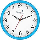 [Sponsored]Story@home 10-inchRound Shape Wall Clock With Glass For Home / Kitchen / Living Room / Bedroom (Light Blue Frame) - B078RJP8R6