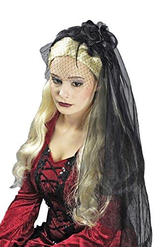 Witwenschleier - Schwarzer Brautschleier zum Witwen, Hexen oder -