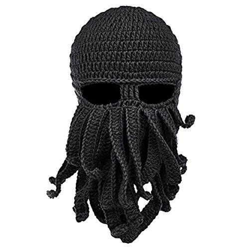 (Tentakel Octopus Strickmütze Viking Maske Wingbind Neuheit Bart Hut Winter Warme Winddichte Beanie Stricken Hut für Frauen Männer)