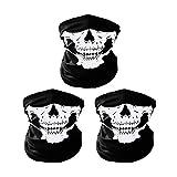 UClever Máscara de Calavera Mascarilla Fantasma de Medio Cráneo de Motocicleta, 3 Piezas