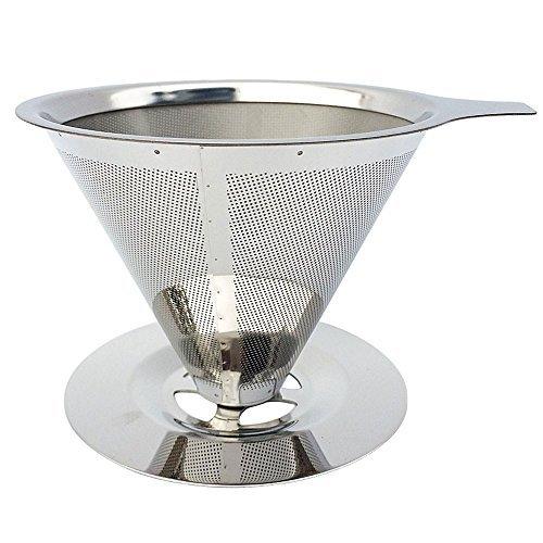 Daycount Edelstahl Konus Wiederverwendbar Kaffee Filter Körbe Mesh Sieb über Kaffee Gießen Tropfer mit Ständer Halter, papierlosen Pour über Kaffeemaschine (4 Filter Korb Tasse Kaffee)