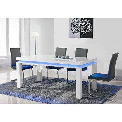 Flash table a manger avec led bleue 6 personnes 160x90 cm - laqué blanc brillant