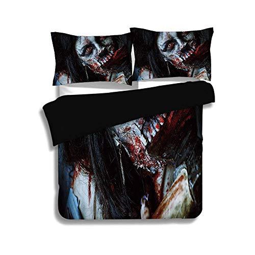 Schwarzer Bettbezug-Set, Zombie-Dekor, beängstigende tote Frau mit blutiger Axt Evil Fantasy Gothic Mystery Halloween Bild, mehrfarbig, dekorative 3-teilige Bettwäsche-Set von 2 Pillow Shams, King Siz