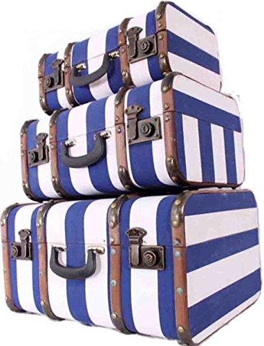 Koffer Set / 3 teilig / Minibar / Kosmetikkoffer / Oldtimerkoffer / Kinder Koffer / blau gestreift / Holzlatten / Eisenbeschläge / Antik Stil