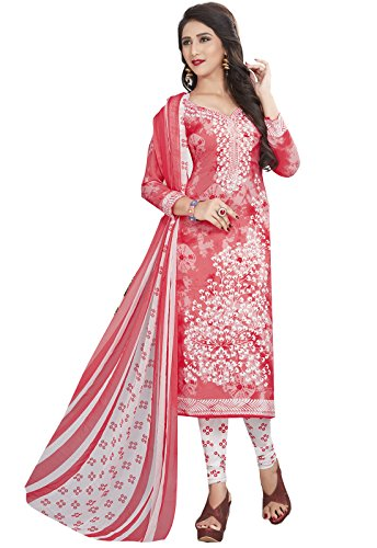 Ishin Synthetic Peach & White Party Wear Wedding Wear Casual Daily Wear Festive Wear Bollywood New Collection Printed Latest Design Trendy Unstitched Salwar Suit Dress Material (Anarkali/Patiyala) With Dupatta  available at amazon for Rs.499