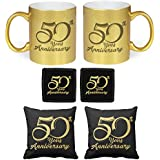 YaYa Cafe 50th Anniversary Gifts For Parents Golden Jubilee Glitter Couple Mugs Gift Hamper Set Combo Of 6 (Golden Mug, Coaster, Black Cushion Cover - 12 Inches)
