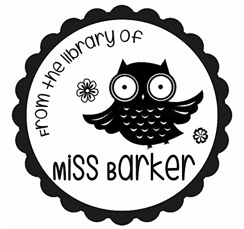 From the library of book owl stamp Custom teacher name text Self inking return address business personalized name pre ink round stamp 1.5