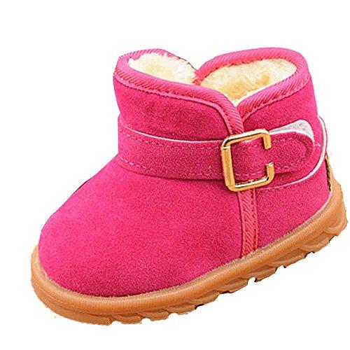 Babyschuhe,Sannysis Winter Baby Kind Schuhe Baumwolle Stiefel Warm Schnee Stiefel 12-36Monat (21, Hot Pink-1) Hot Pink Leder