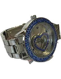 Paris Hilton plata azul de acero inoxidable corazón moda reloj bph10044/208