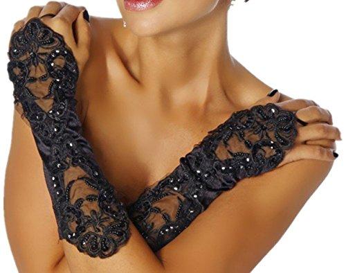 ERGEOB Edle Damen Handschuhe aus Spitze mit kleinen Perlen - Stulpen Schwarz in Einheitsgröße für Hochzeit, Oper, Ball, Fasching, Karneval, Tanzen, Halloween …