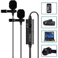 MAONO AU200 Microphones cravate double, micro cravate mains libres avec condensateur omnidirectionnel pour appareil photo, DSLR, iPhone, Android, Samsung, Sony, PC, ordinateur portable (236in / 20ft)
