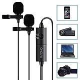 Maono Lavalier Ansteckmikrofon, kugelförmiges Kondensator-Mikrofon für Kamera, DSLR, iPhone, Android, Samsung, Sony, PC, Laptop AU200 DUAL MICS