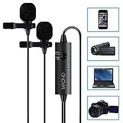 Dual Lavalier Mikrofone MAONO AU200, Freisprecheinrichtung Ansteckmikrofon mit Kugelkondensator für Kamera, DSLR, iPhone, Android, Samsung, Sony, PC, Laptop (236in / 20ft)