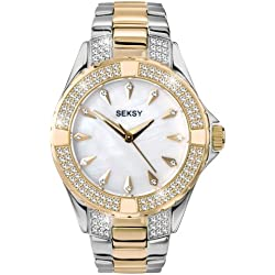 Seksy Women's Quartz Watch with Mother of Pearl Dial Analogue Display and Two Tone Stainless Steel Bracelet 4234.37