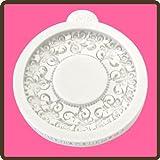 Katy Sue Designs Miniatur-Bilderrahmen, Vintage, Kreise, Schnörkel, Silikonform für Tortendekorationen, Cupcakes, Fondant und Zuckerwaren