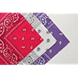 Set of 3 Cotton Paisley Bandanas Pink White & Purple by Flissy