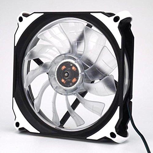 LED-Lüfter für PC, yuyoug leise 120mm DC 12V 3+ 4pol LED-Effekte transparent Gehäuselüfter für Heizkörper Mod, plastik, weiß, Einheitsgröße