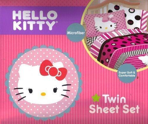 Set Hello Twin Kitty Sheet (Hello Kitty Beautiful Dots Twin Sheet Set Bedding, Pink by Hello Kitty)