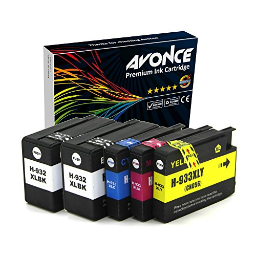 Avonce - Cartuchos de Tinta compatibles con HP OfficeJet 6700 7510 7612 6600 6100 7110 7610 (5 Unidades, 932 x 932 mm), Color Negro