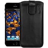 mumbi ECHT Ledertasche für iPhone SE 5 5S 5C Tasche (Lasche mit Rückzugfunktion)