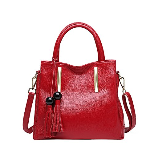 E-Girl Q0879 Damen Leder Handtaschen Satchel Tote Taschen Schultertaschen Weinrot