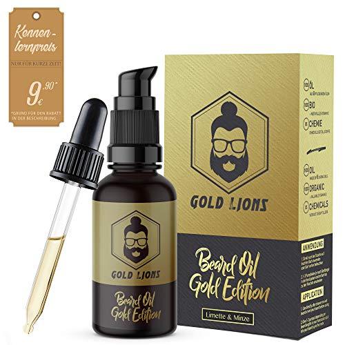 """Bartöl""""Gold Edition"""" von Gold Lions I 100% reines Öl I 100% Bio + stärkendes Vitamin E I in Lichtschutzglas I mit Pumpspender + Pipette I Limette-Minz-Duft I + Gratis eBook"""