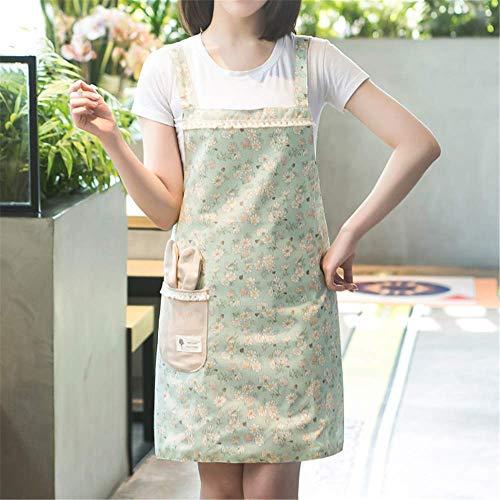 YXDZ Europäische Mode Schürze Küchenschürze Kochen Overall Kittel Baumwolle Und Leinen Taille Anti-Fouling Ölbeständig Café Schürze Grüne Schürze -