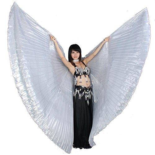 Erwachsener Bauchtanz Isis Flügel Mit Stöcken 360 Grad Volles Exotisches Kostüm Professionelle Aufführungen Große Stützen . Silver . (Mit Kostüme Flügeln Lyrische Tanz)