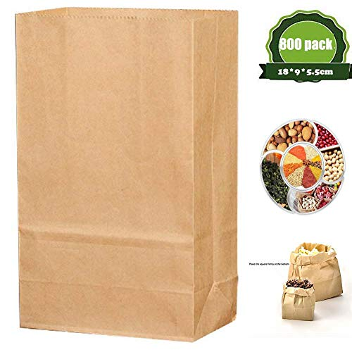 ZHIHEHE Kraftpapierbeutel, Lebensmittelverpackungsbeutel, Burger-Kastanien-Einwegbeutel, Geeignet für Familien und Geschäfte, 800 Stück (18 * 9 * 5,5 cm)