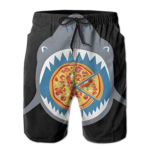 Desing shop Pizza in The Mouth Men's/Boys Casual Shorts Swim Trunks Swimwear Elastic Waist Beach Pants with Pockets X-Large (Oakley Boys Golf)