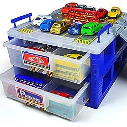 CrazySell De plástico a prueba de polvo coches de juguete de equipaje Aparcamiento con caja de vías divisor de plástico Organizador