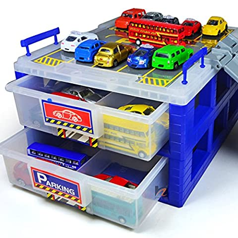 CrazySell Plastic Dustproof Toy Cars Parking Storage with Ttrack Plastic Box Divider Organizer - Color Randomly
