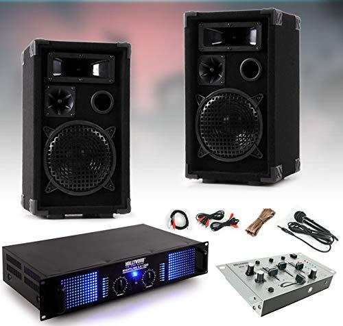 etc-shop 2400W PA Partyanlage Boxen Lautsprecher Endstufe Verstärker Mixer Mischpult DJ-477