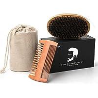 Kit de Cepillo y Peine para Barba - Liberex Peine de Madera hecho a mano y Cepillo para Barba de cerdas de Jabalí, con caja de regalo y bolso de algodón