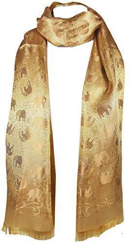 GFM - Bufanda - Animal Print - para mujer dorado Luxury Thai Silk - Gold M / L