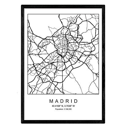 Lámina Mapa Ciudad Madrid Estilo nordico Blanco Negro