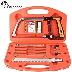 Pathonor Scie Magique DIY Kit Multifonctionel, Outil HSS Coffret de 12 pouces avec 8 lames divers d'égoïne + 1 Affûteur, Scie Portable Pratique pour Bois/Verre/Métal/PVC/Tuile avec Mallette
