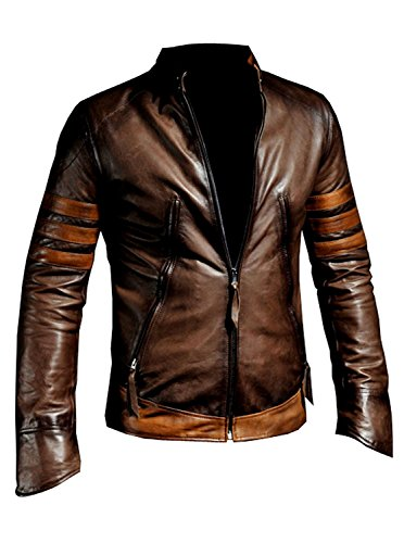 Maqworld The X-Men Origins Wolverine Black w Red Stripes or Brown w Tan Stripes Distressed Leather Jacket