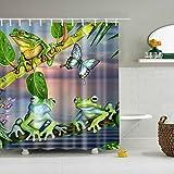 DBHUAV Stoff-Duschvorhang Baum Frosch Badteppich 12 Haken, wasserdicht, Anti-Schimmel Duschvorhang, Tree Frog 1, 180 x 200 cm