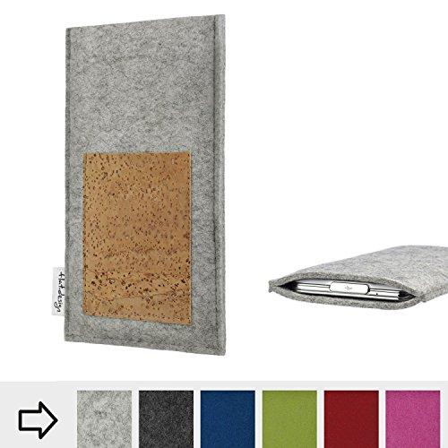flat.design Tablet Tasche Evora mit Scheckkartenfach für Kiano Slimtab 8 3G - Schutz Case Etui Filz Made in Germany in Hellgrau mit Korkstoff - passgenaue Tablethülle für Kiano Slimtab 8 3G