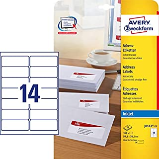 Avery Zweckform J8163-25 Address Labels for DIN Long Envelopes 99.1 x 38.1 mm 25 Sheets