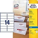 AVERY Zweckform J8163-25 Adress-Etiketten (A4, Papier matt, 350 Stück, 99,1 x 38,1 mm, 25 Blatt) weiß